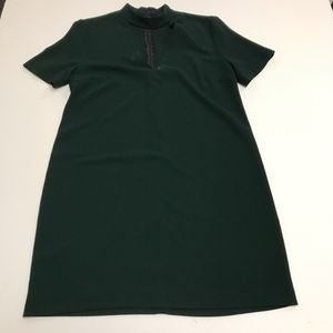 Zara Green Crepe VNeck Cut Out Career Casual Dress